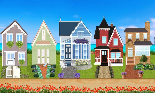 krelsené domky, cesta, tulipány