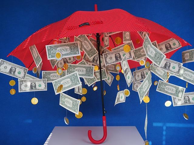 bankovky pod deštníkem