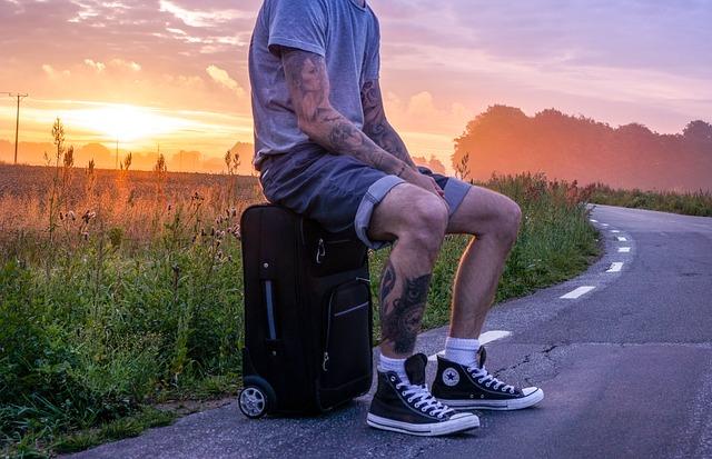 cestování, kufr, příroda